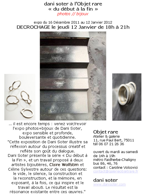 Dcrochage exposition Claire Wolfstirn Dani  la Galerie &quot;Objet rare&quot;